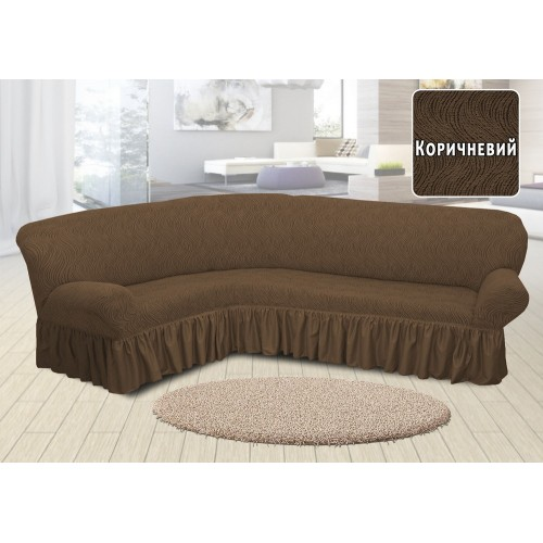 Чехол на угловой диван жаккардовый с юбкой волна коричневый