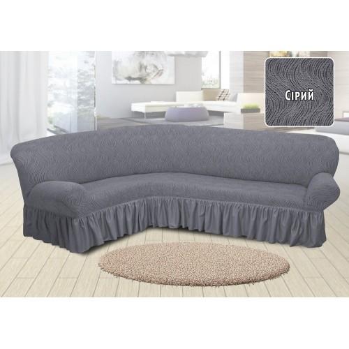 Чехол на угловой диван жаккардовый с юбкой волна серый