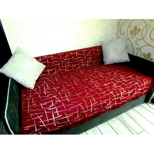 Шенілове покривало на диван Бамбук бордо