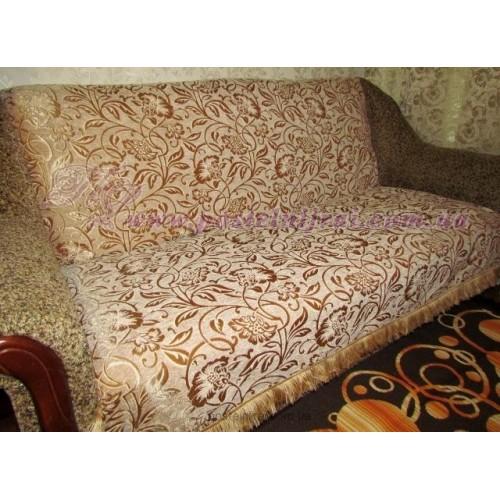 Шенілове покривало на диван Жанет - беж