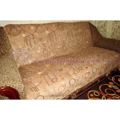Шеніловий дивандек Круги - беж