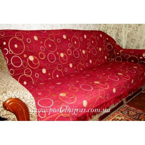 Шеніловий дивандек Круги - бордо