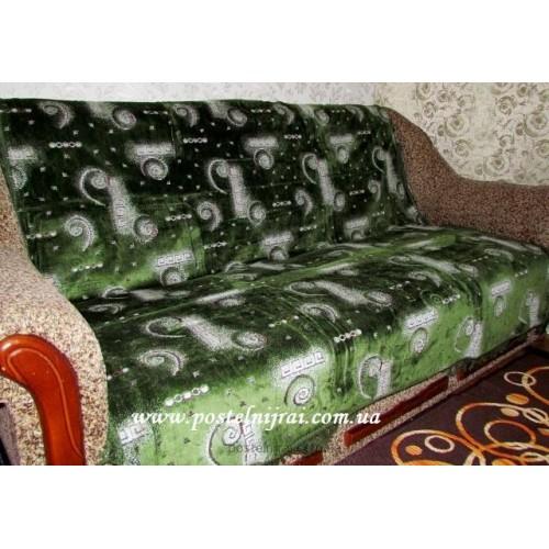 Дивандек велюровый Абстракт - зеленый