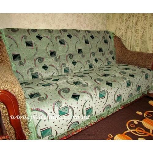 Дивандек велюровый Вьюга - зеленый