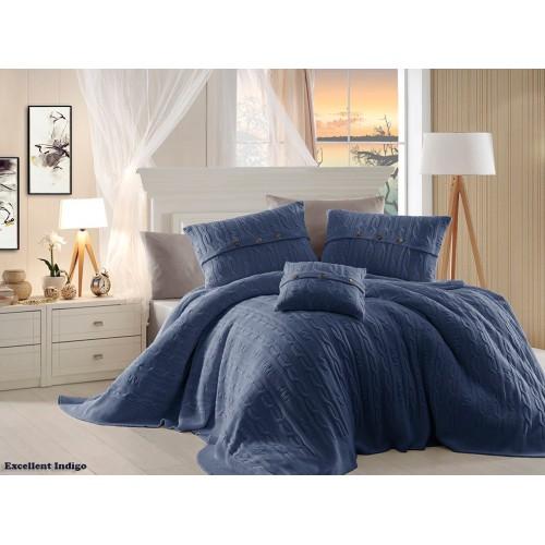 First Choice Nirvana Excellent постельное белье с вязаным покрывалом Indigo