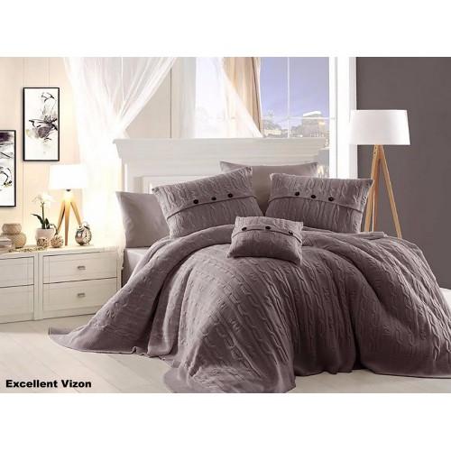 First Choice Nirvana Excellent постельное белье с вязаным покрывалом Vizon