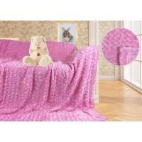 Плед меховой барашек розовый