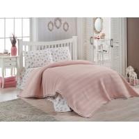 Летний комплект постельного белья с вафельным покрывалом Doco Pike Персик